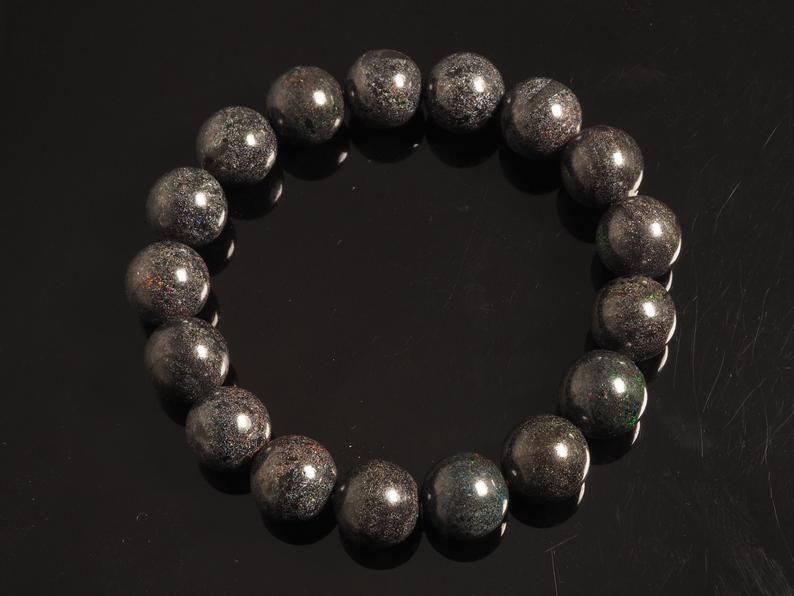 Australian black opal beaded bracelet etsy opal
