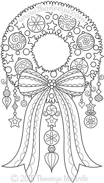 Color Christmas Wreath Coloring