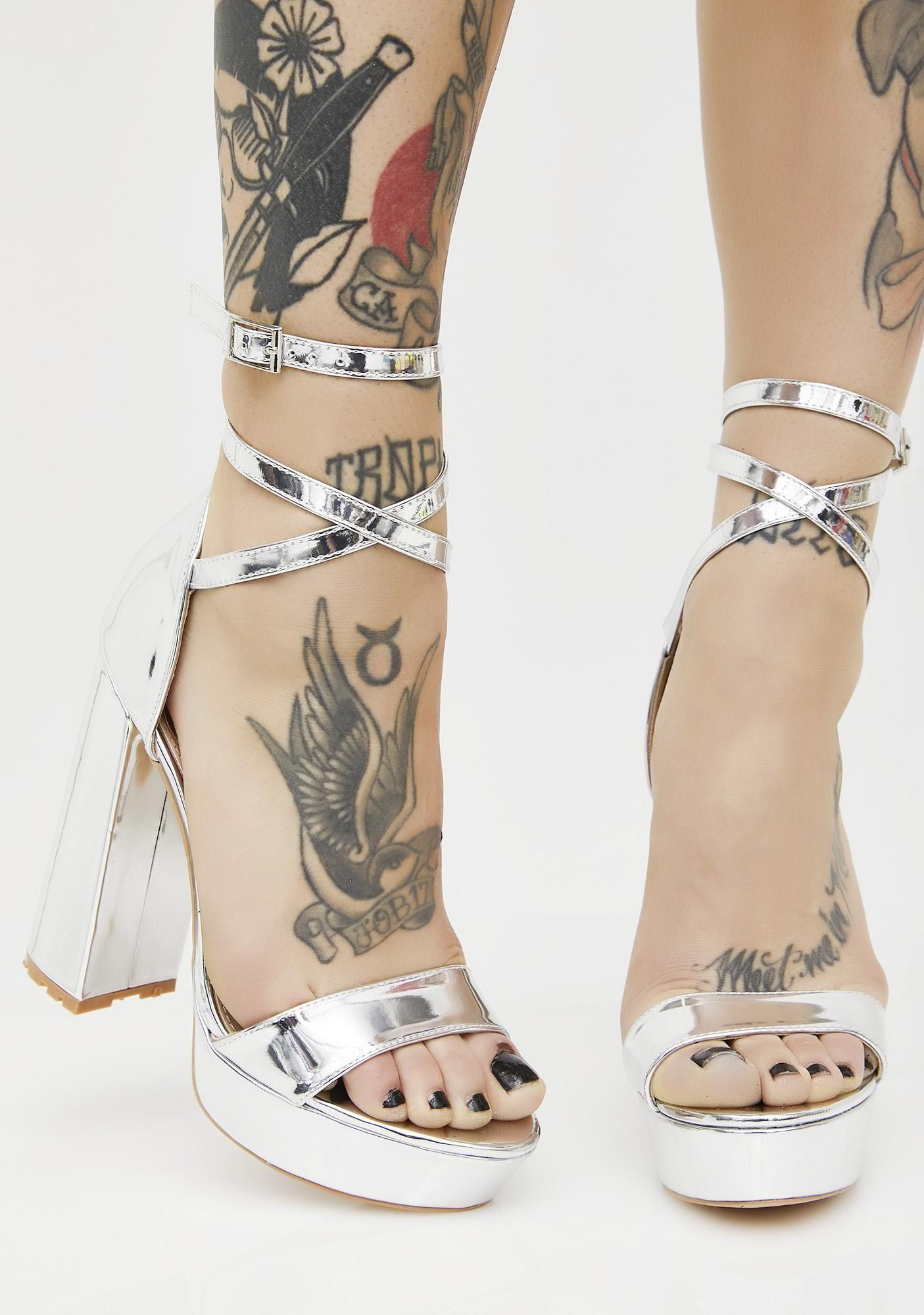 37fb9f22002 Public Desire Platinum Mars Strappy Flared Heel Platforms