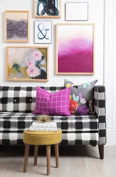 Fuchsia Ombré Print | Extra seating, Footrest and Nailhead trim