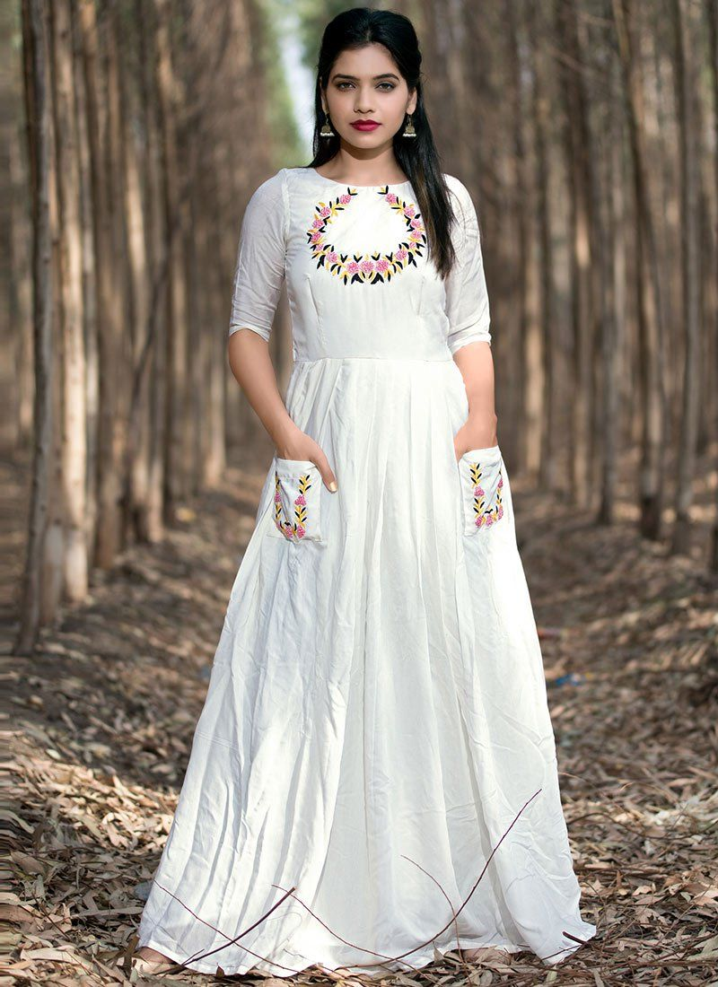 1518c3dadb Buy White Embroidered Anarkali Gown online, SKU Code: BGWRSVND26718. This White  color Party dresses and gown for Women comes with Embroidered Muslin.