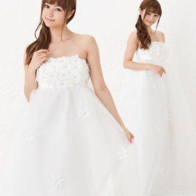 Amazon.co.jp: (ゴールドジャパン)Goldjapan プリンセスラインウェディングドレスロングマタニティ: 服&ファッション小物