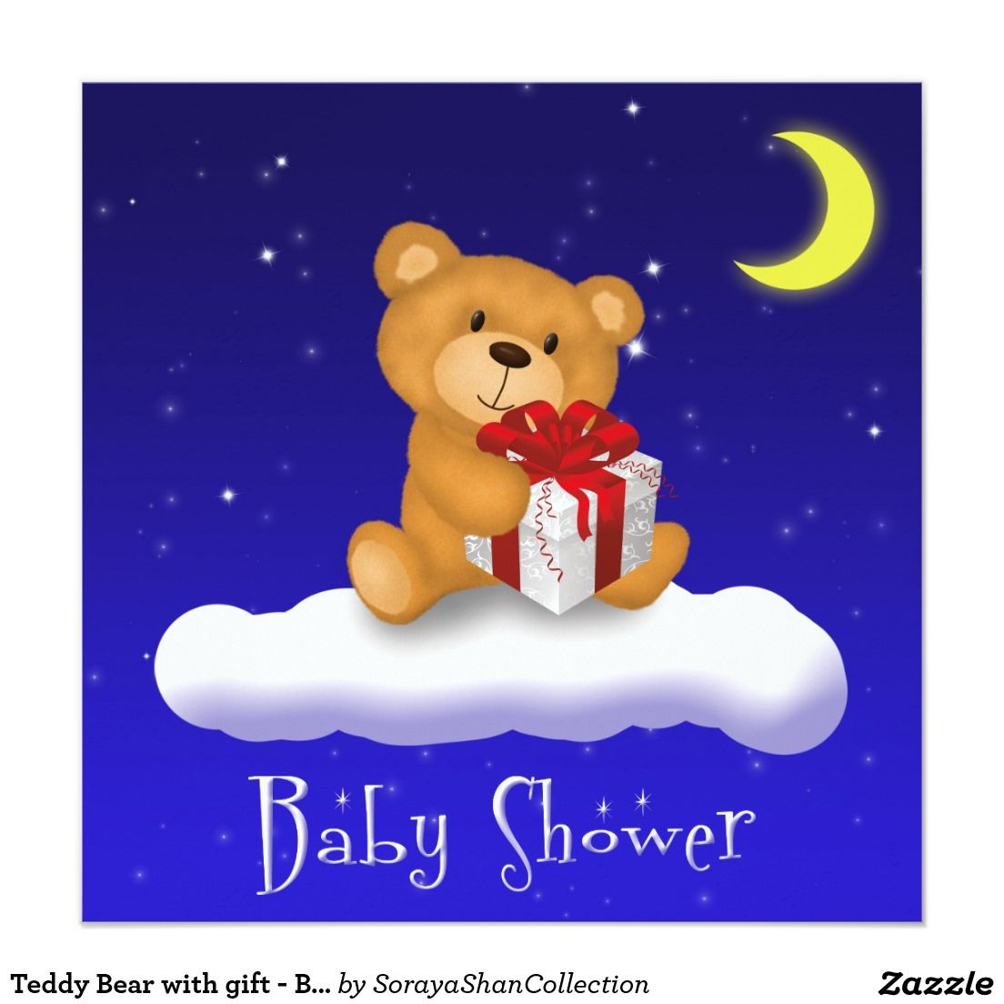 Teddy Bear with gift - Baby Shower Invitation