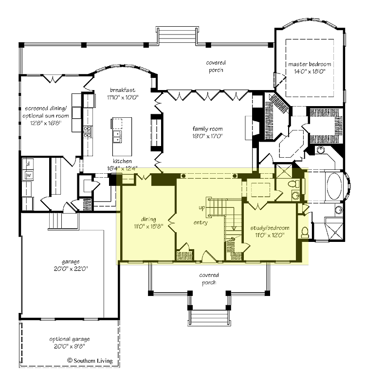 Floor Plan Good Master Location Love Hidden Washer Dryer In Mud Room House Plans Southern Living House Plans Dream House Plans