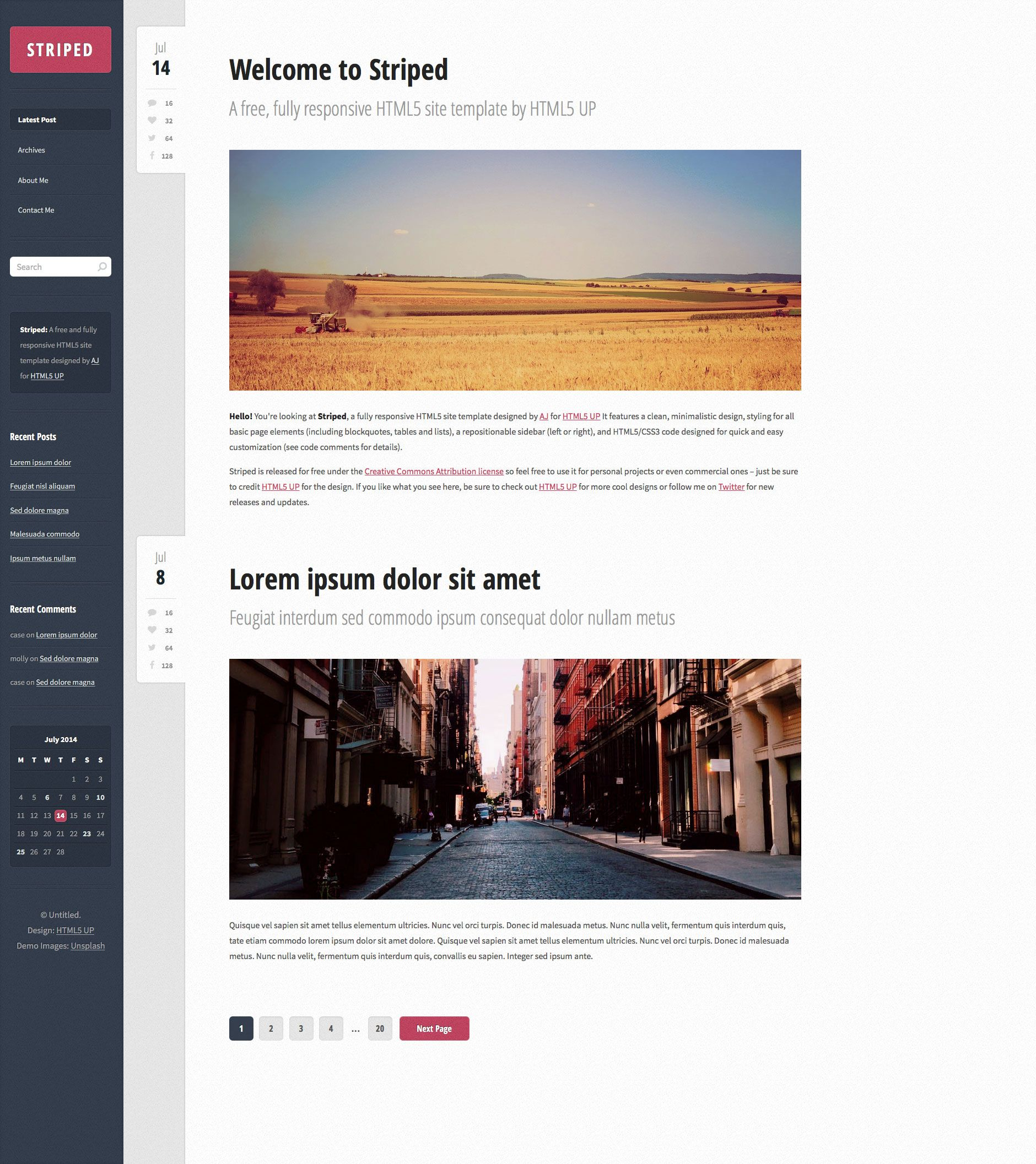 striped is a minimal and fast free responsive personal page site