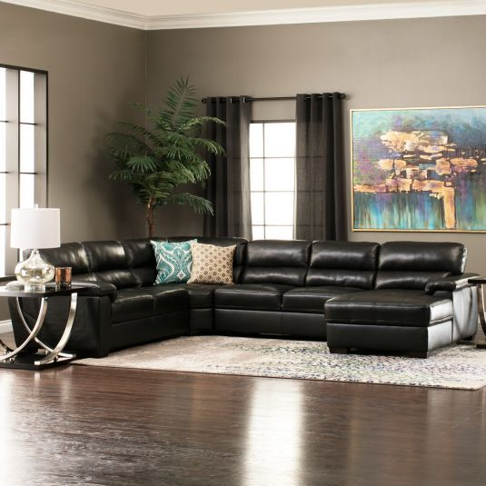 Modern Black Leather Sectional Large Leather Sectional Jerome