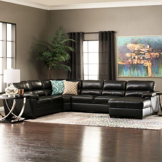 Strange Modern Black Leather Sectional Large Leather Sectional Evergreenethics Interior Chair Design Evergreenethicsorg
