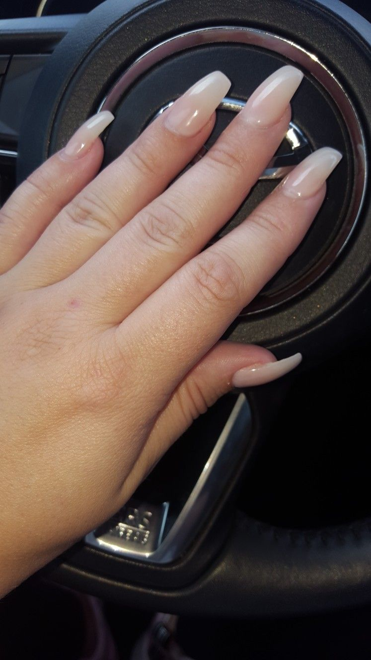 Coffin Natural Looking Acrylic Nails Sheer Gel Kylie Jenner Inspired Natural Looking Acrylic Nails Acrylic Nails Gel Nails Diy