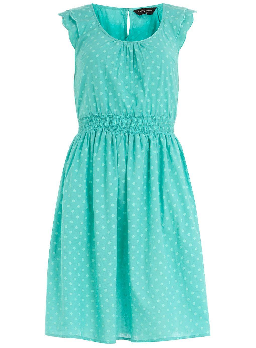 Turquoise polka dot sundress $44