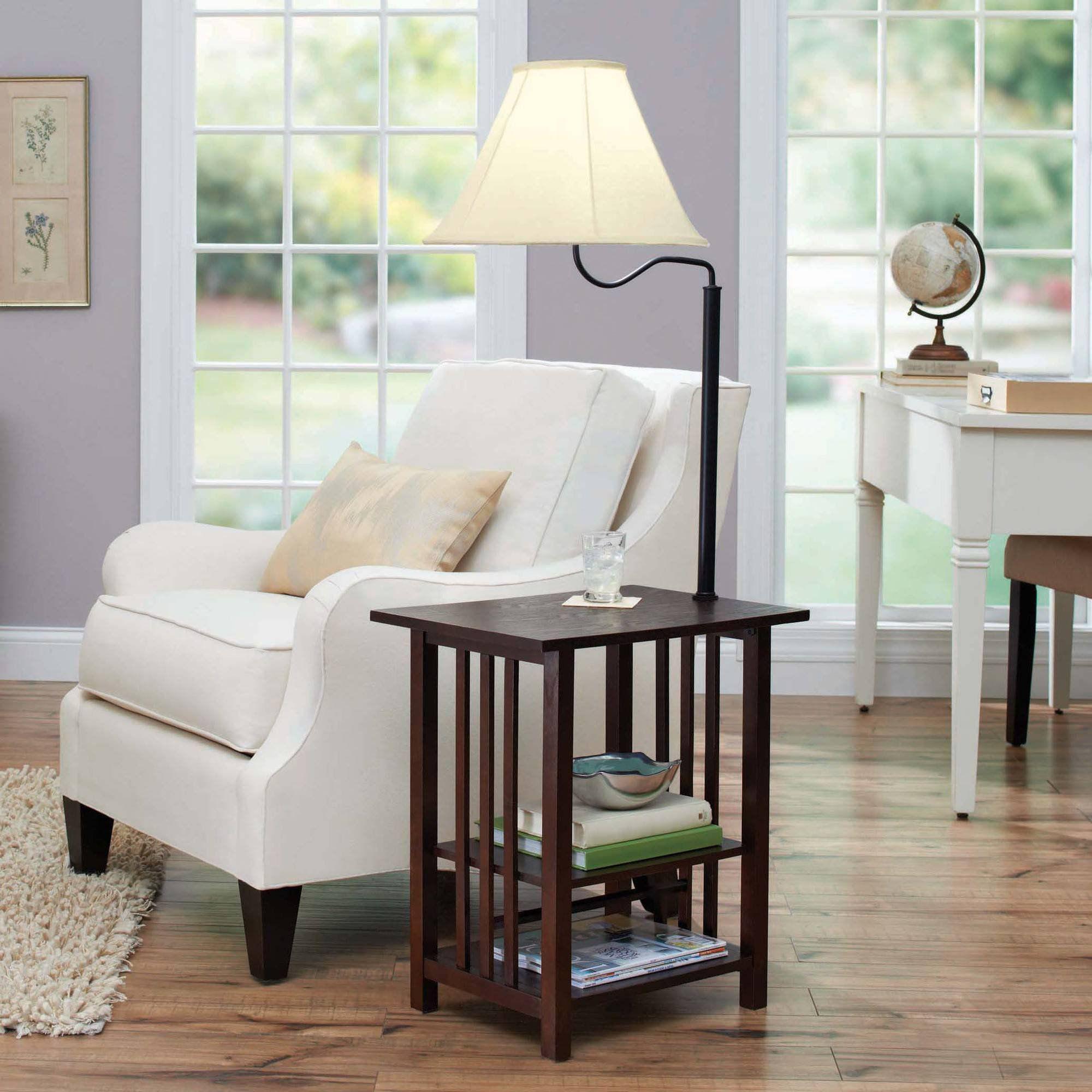 Better Homes & Gardens End Table Floor Lamp, Espresso