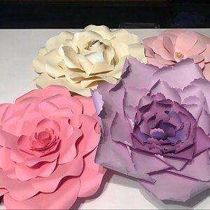 Set of 5 Giant Flower Templates, Printable PDF Flower Templates, SVG Flower Cut Files, Large Paper flowers, Easy Flower Templates