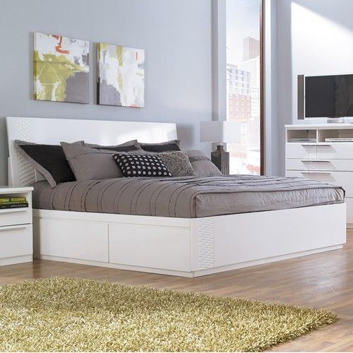 Jansey Metro-Modern White King Bed with Side Storage Unit by Ashley