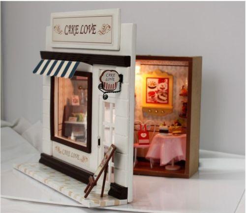 DIY Kit Cake Love Bakery Bread Store Shop Model Wooden