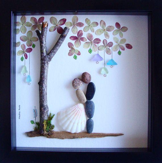 Wedding Gift Pebble Art-Unique Engagement Gift-Personalized Wedding present-Personalized COUPLE Gift- bride and Groom Gift- Pebble Art #romanceornot?