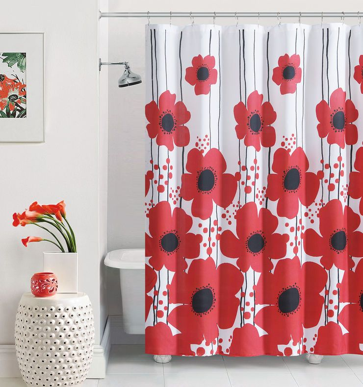 A Red Poppy Shower Curtain Brightens Up Any Bathroom