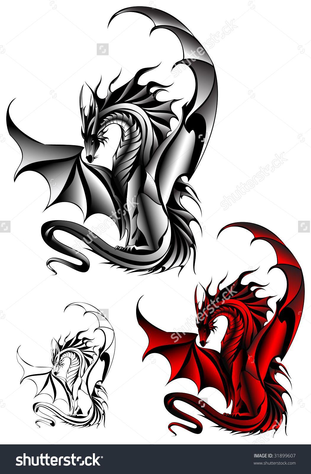Welsh dragon tattoo designs - Tattoo Dragon Design Stock Vector Illustration 31899607 Shutterstock