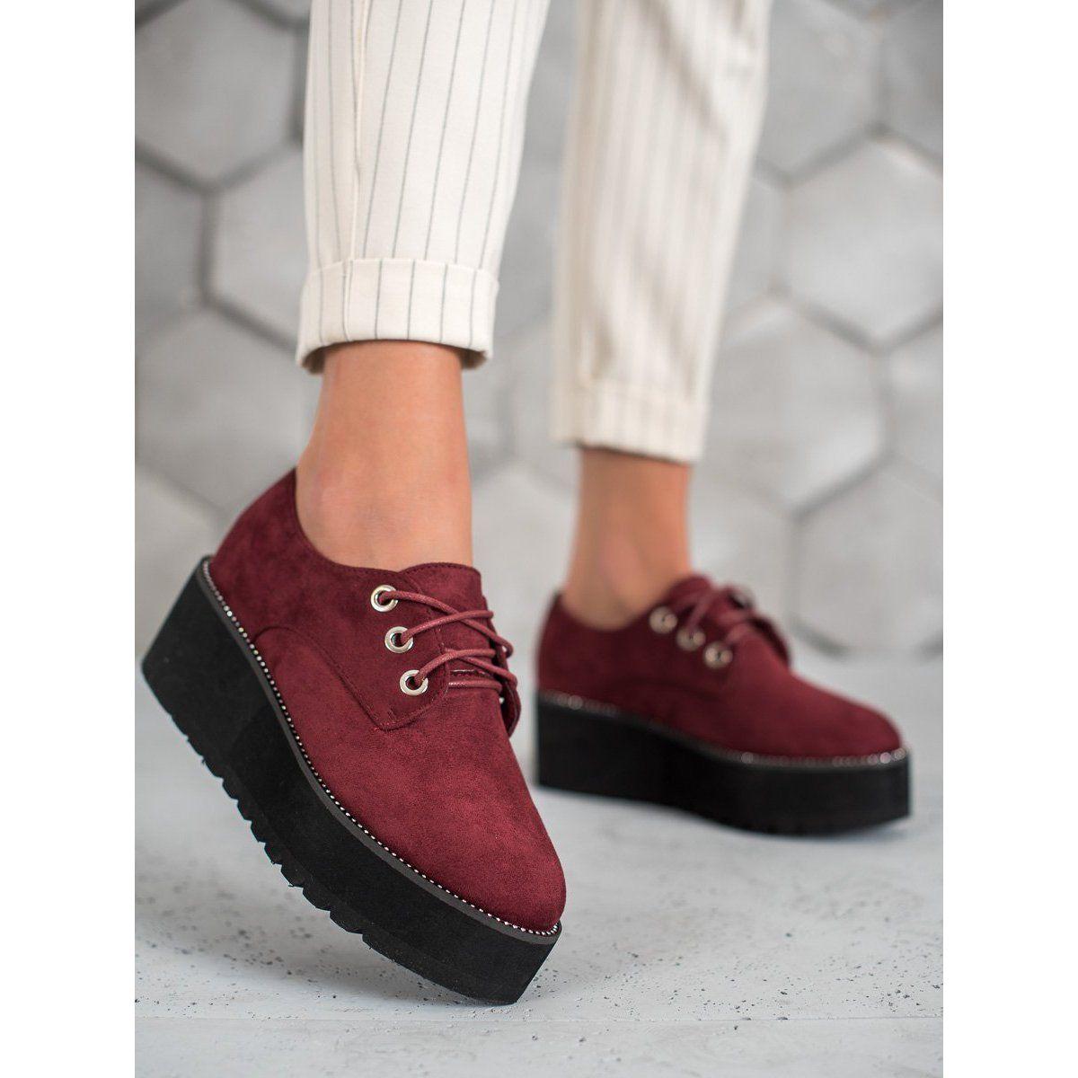 Shelovet Zamszowe Polbuty Na Platformie Czerwone Timberland Boots Light Boots Hiking Boots