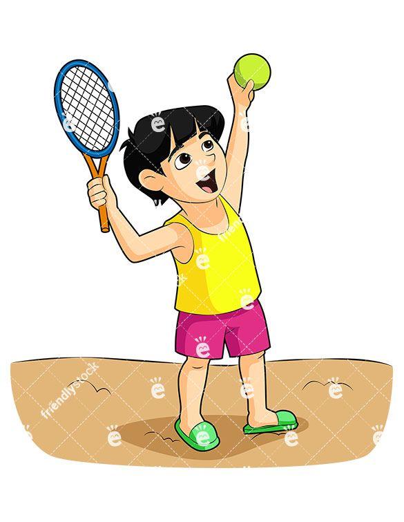 Boy Playing Rackets On The Beach Cartoon Vector Clipart Friendlystock Boys Playing Beach Cartoon Kids Vector