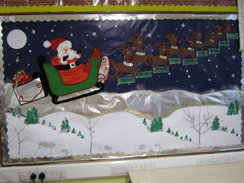 Santa And His Reindeer Classroom Display Photo From Anne Christmas Classroom Christmas School Crafts Christmas Photo Display