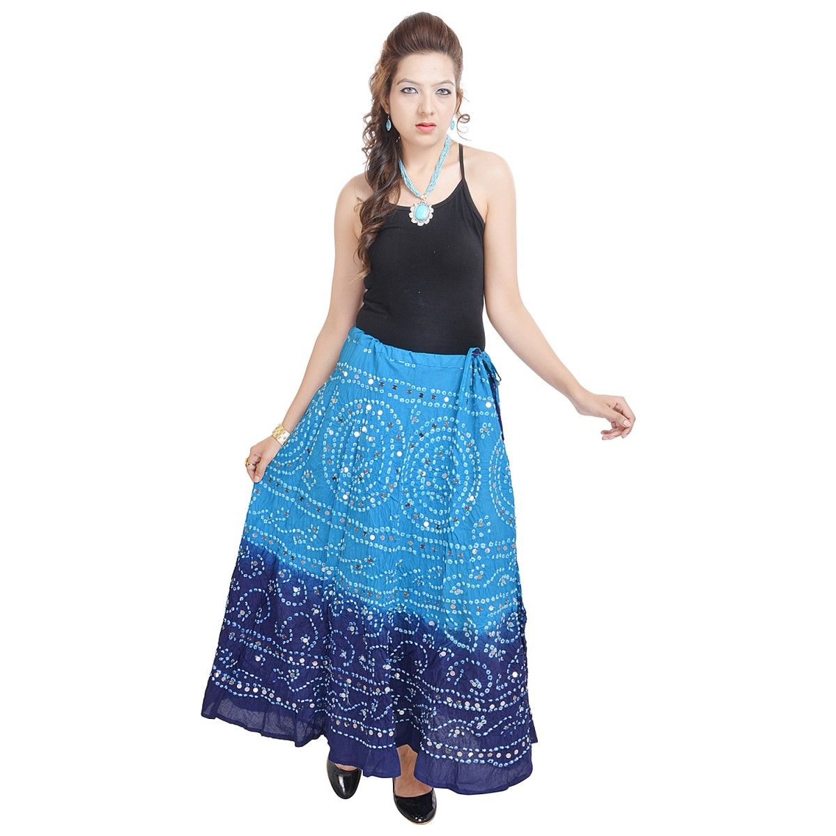 Mirror Work Bandhej Indigocart Cotton Skirt