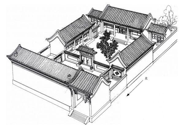 郑希成绘【清洁地炉古有之】 东城区南竹杆胡同82号 2002年5月16日到此,此院已被拆。二门不是垂花门,已经拆了,是什么结构,我画不出。9月来此还是搞不清,后在礼士胡同和灯草胡同又见到几个这种二门,虽然残破,但是将几个完好的局部组合起来,画出此图。 屋顶也有烟道,但不是火炕的,应是地炉的,都拆了当时砖土压着看不清。这种地炉颐和园还有。据鲁教珍老师回忆,解放后此院为夏衍先生的住宅。