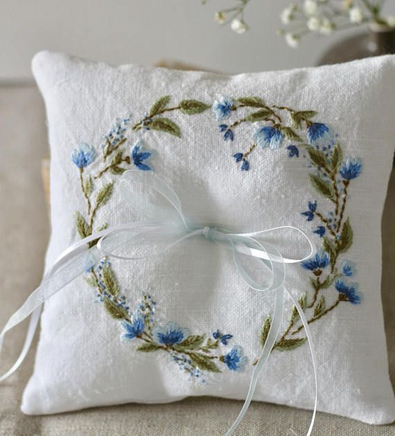 Cyanotype Ring Bearer Sunprint Ring Pillow Ring Pillow Ring Holder
