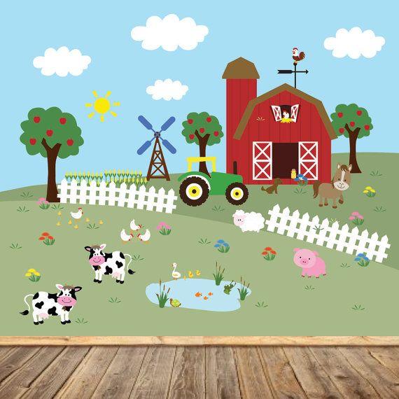 Farm Mural Barn Tractor Apple Trees Windmill Fence Corn
