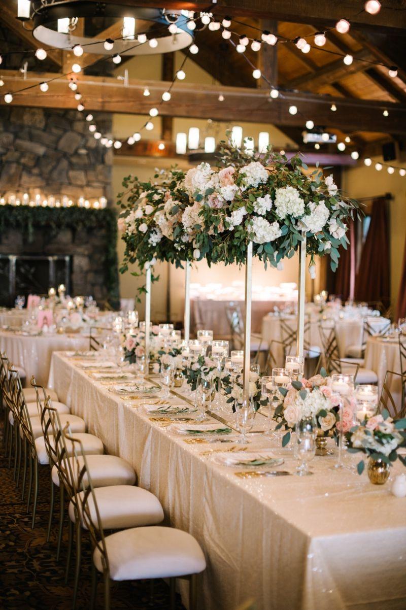 Elegant Blush and Champagne Wedding  Wedding Centerpieces