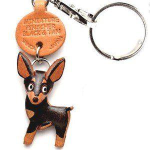 Miniature Pinscher Keychain dog leather handmade Mini