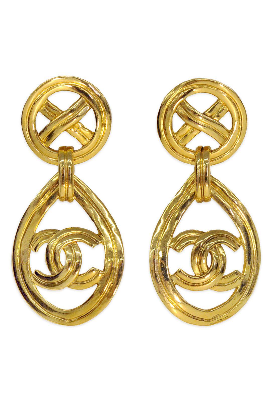 Vintage Chanel CC Gold Drop Earrings Vintage chanel