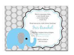 Baby Boy Elephant Baby Shower Invitation with polka dots