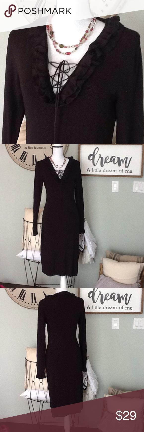 max studio laceup dark brown dress rib knit dark brown and