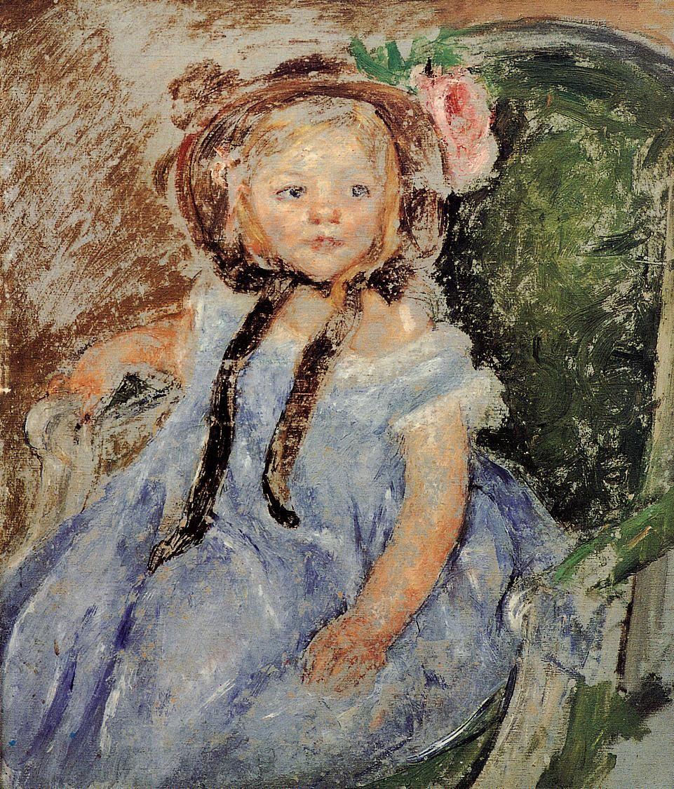 Sara in Dark Bonnet with Right Hand on Arm of Chair,  Mary Cassatt