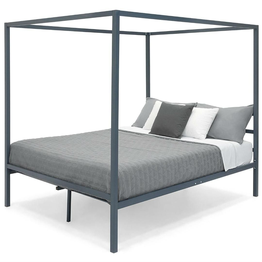 - Queen Size Grey Metal Platform Bed Frame With Canopy Metal