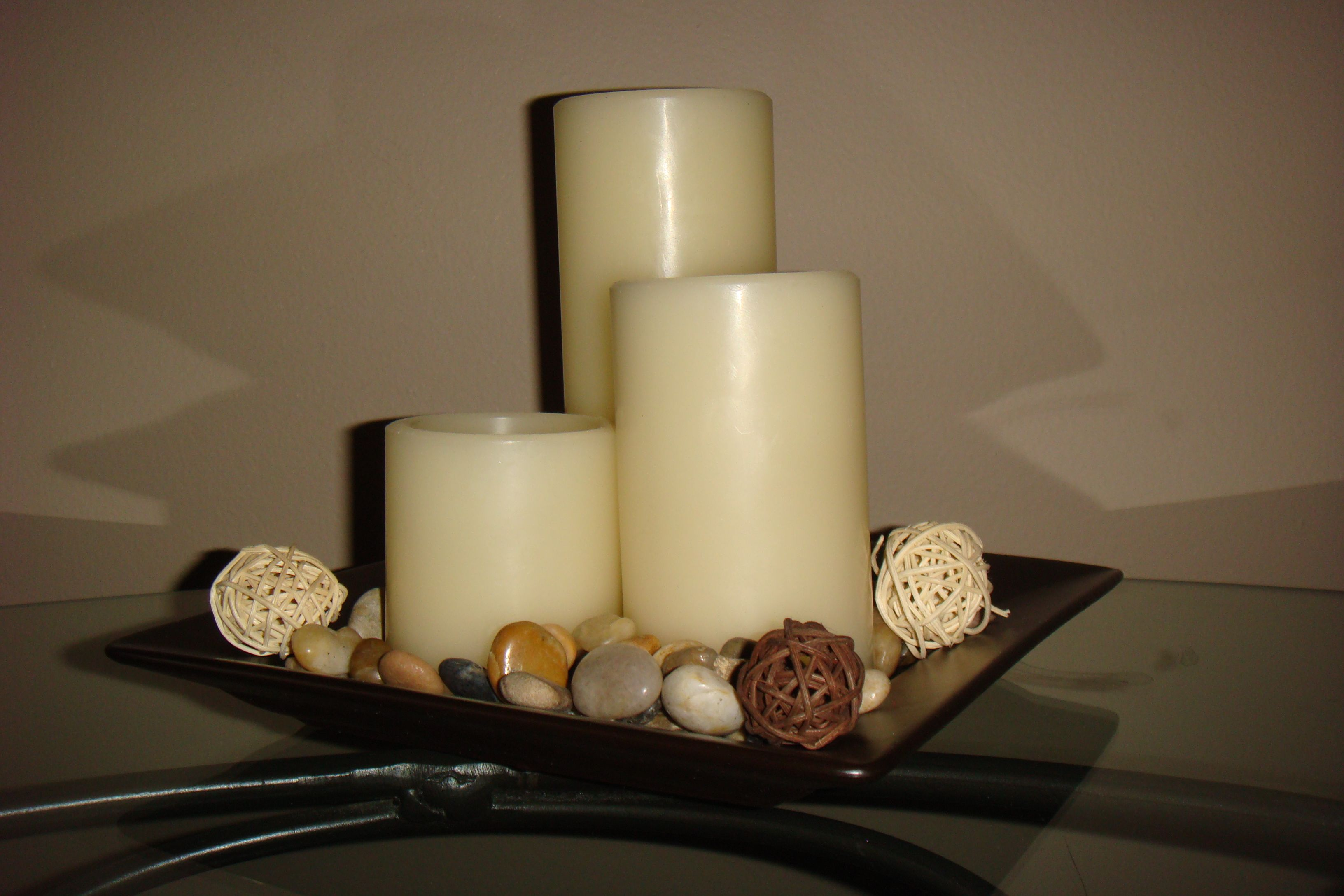 Candles in a dish