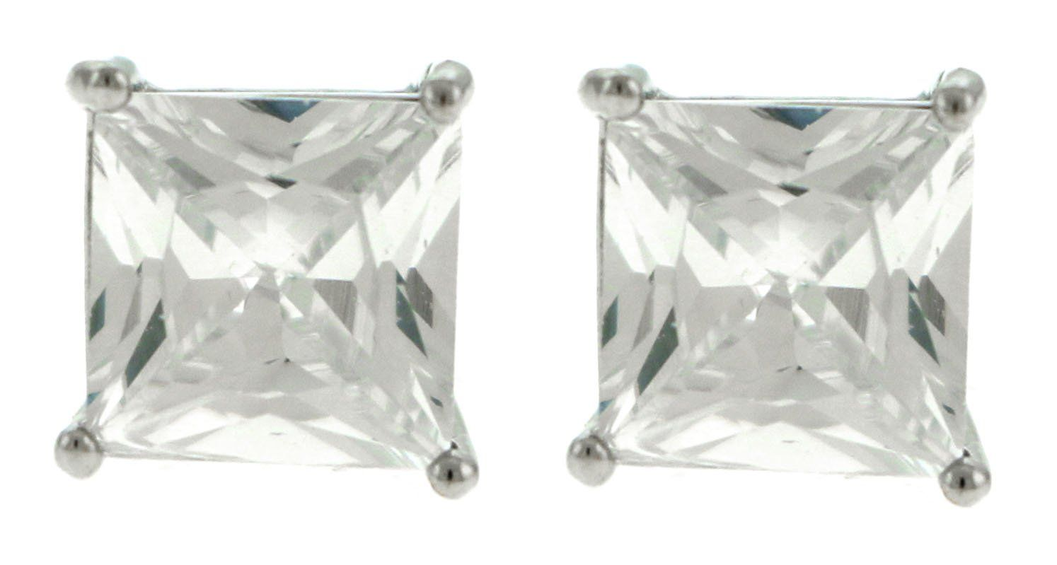 Large Silver-Tone Square Shaped Post Earrings With CZ Accent For Women 36CZ4864