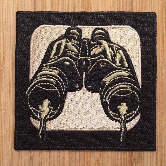 "Binoculars (watery eyes) is my newest patch. 3"" X 3 "" iron on. Link is in my profile but here is the address: shoptod3d.bigcartel.com  #tod3d #toddbarricklow #patch #binoculars"