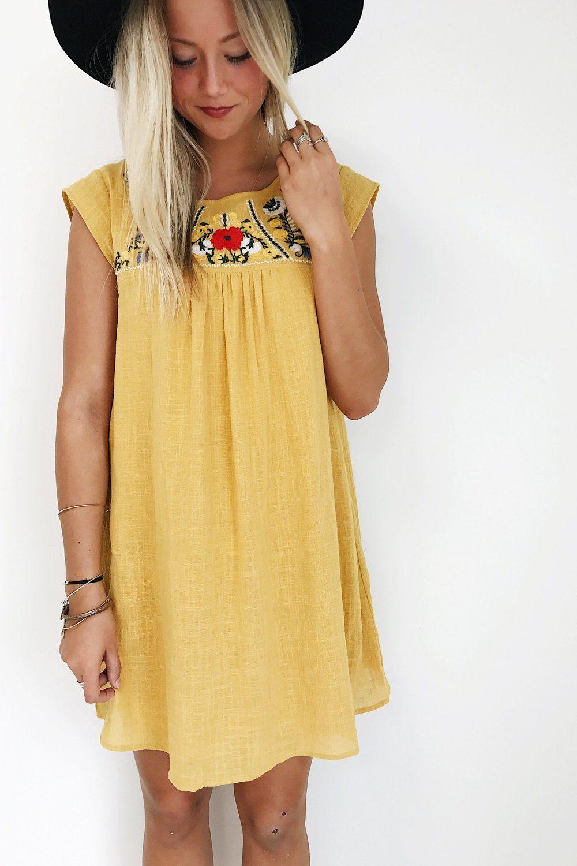 5c78549e0af0 Mustard Embroidered Floral Dress
