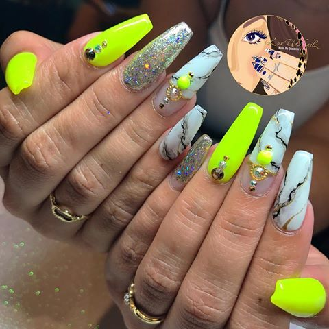 Neon Yellow Marble With Gold Accents Perfect Summer Vibes