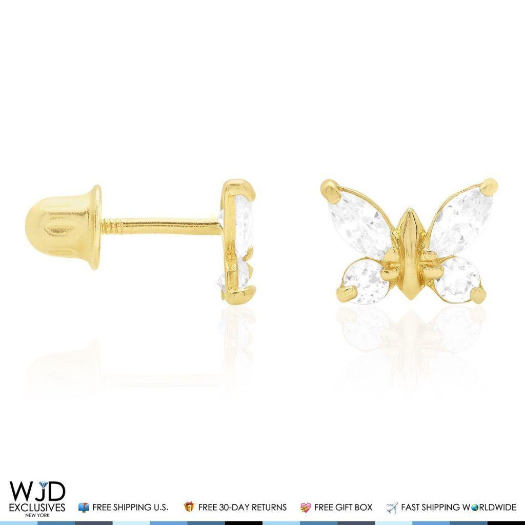 Sapphire /& White Zircon Butterfly Screwback Stud Earrings 14K Solid Yellow Gold