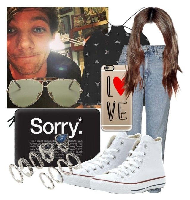 """Tattoo with Louis"" by diva-fashionista ❤ liked on Polyvore featuring Topshop, Casetify, Converse, Ray-Ban and Forever 21"