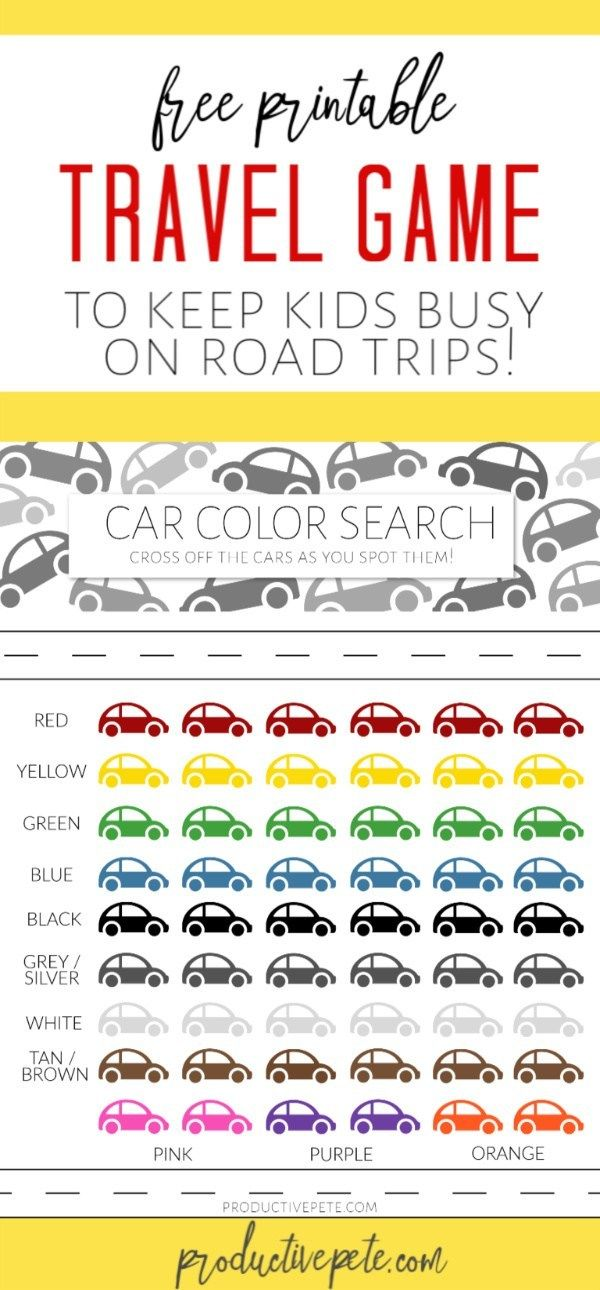 Printable Car Colors Travel Game for Kids