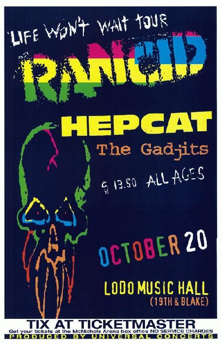 Original Concert Poster For Rancid With Hepcat At The Lodo Music Hall In Denver Co 11 X 17 On Thin Glossy Paper Concert Posters Music Poster Band Posters