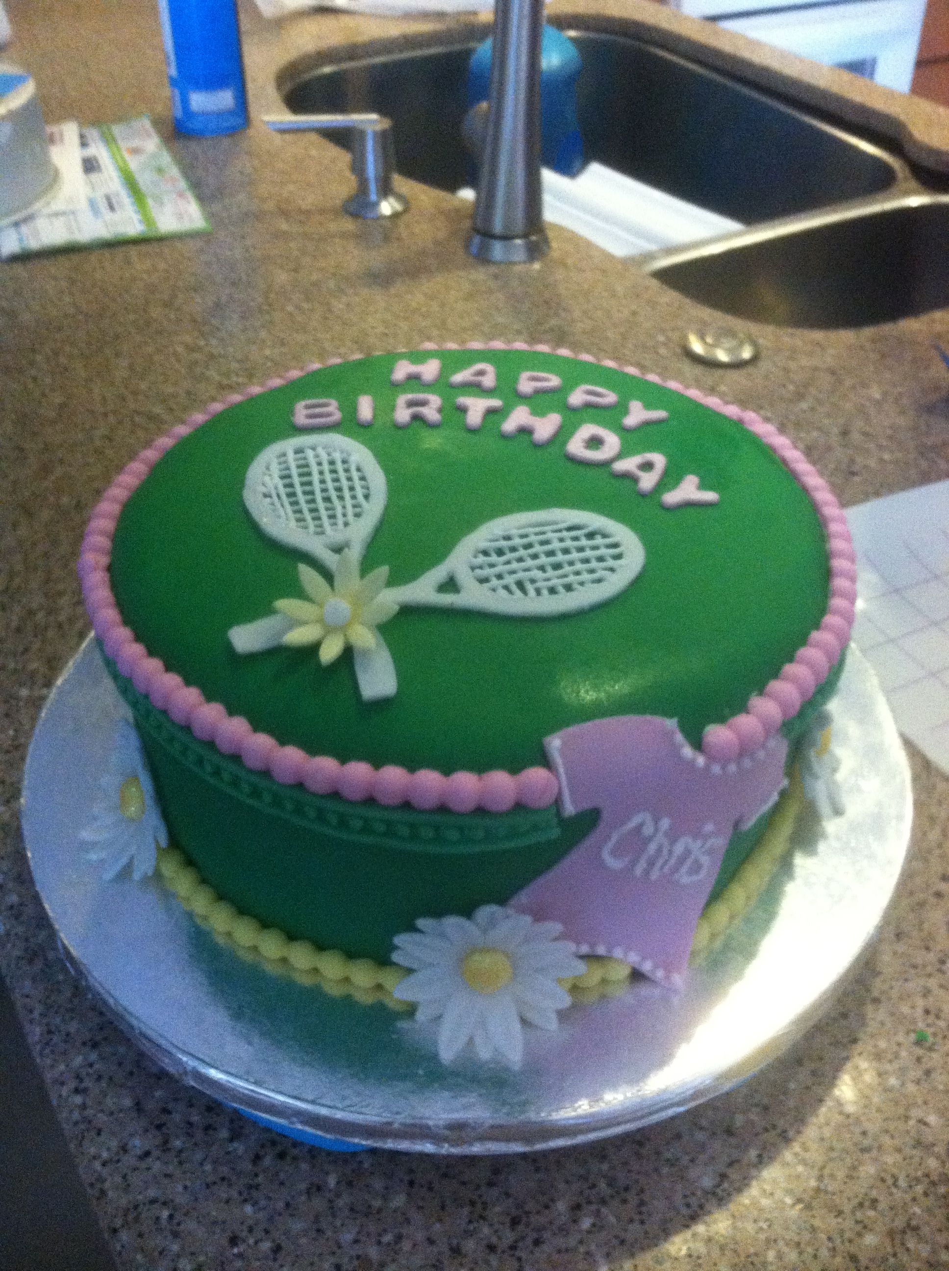 Remarkable Chris Birthday Cake Ms Tennis With Images Tennis Cake Personalised Birthday Cards Sponlily Jamesorg
