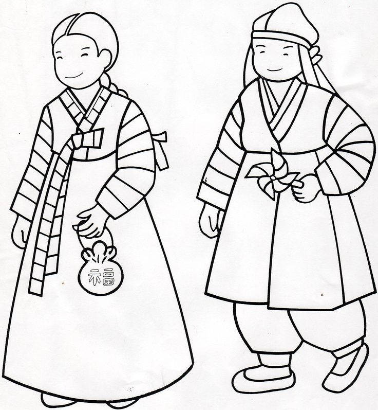Hanbok Coloring Page Korean Coloringlessons Korea Korean - Korean-hanbok-coloring-pages