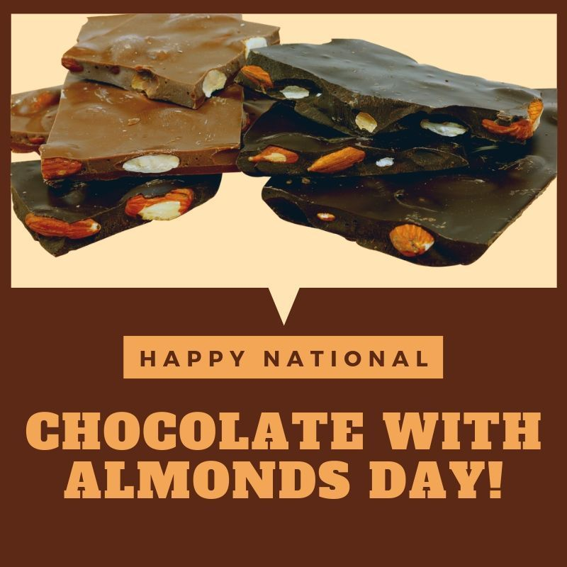 Did You Know Today Is National Chocolate With Almonds Day We Re Ready To Feed Your Sweet Tooth S Cravings With Creamy Chocolate Today Is National Yummy Treats