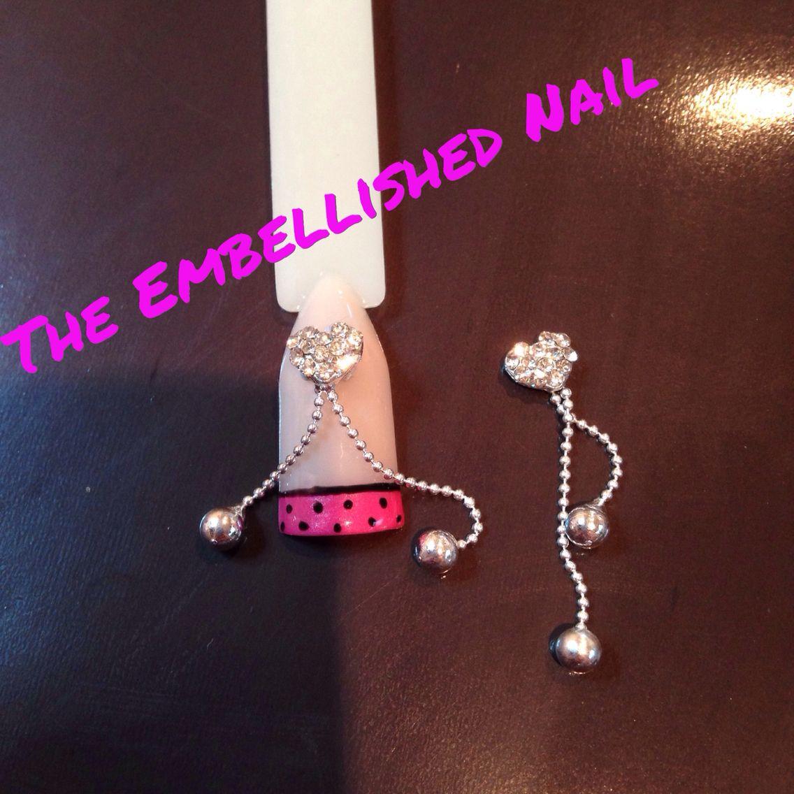 Silver crystal heart nail dangle - nail art | The Embellished Nail ...
