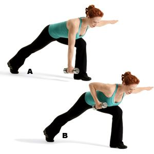 ultimate fitness crescent lunge and row  crescent lunge