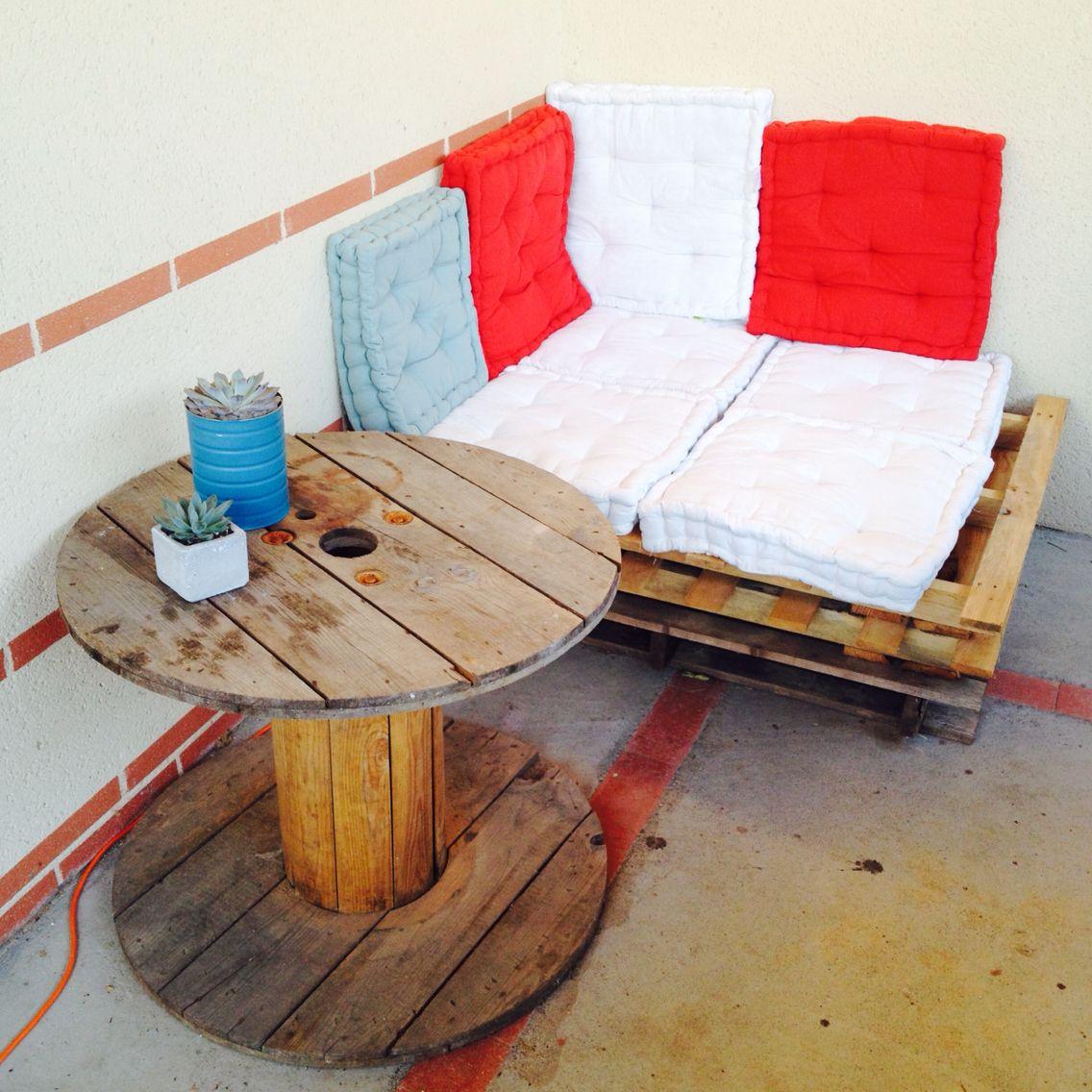 Petit Coin Terrasse à Moindre Coût, Fait Maison Palette En Bois, DIY, Touret