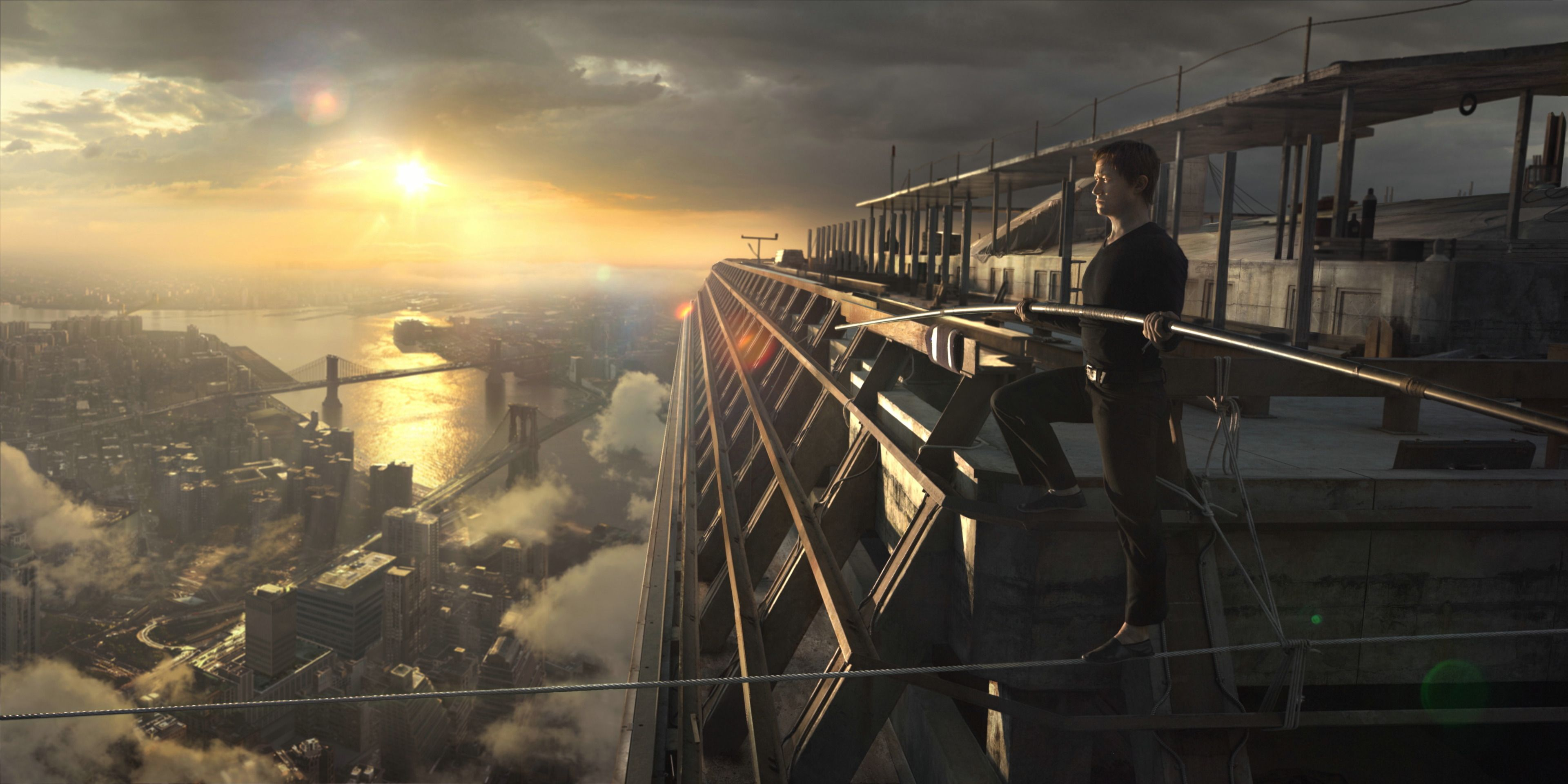 """The Walk"" movie still, 2015.  Joseph Gordon-Levitt as Phillippe Petit."
